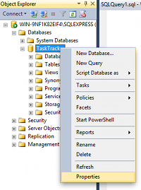 Screenshot of right-clicking on a database in the Object Browser in SQL Server 2014.
