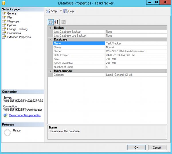 Screenshot of Database Properties dialog in SQL Server 2014.