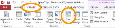 Screenshot of the Form button on the Ribbon in MS Access 2013.
