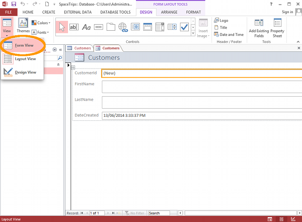 Screenshot of form in Layout view in MS Access 2013.