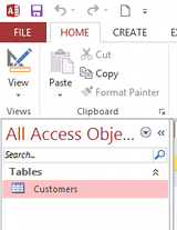 Screenshot of navigation pane with a table selected.