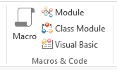 Screenshot of the Macro button on the Ribbon in MS Access 2013.