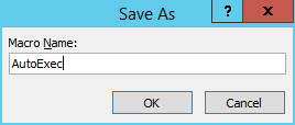 Screenshot of saving a macro in MS Access 2013.