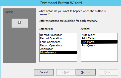 Screenshot of Command Button Wizard in Access 2013.