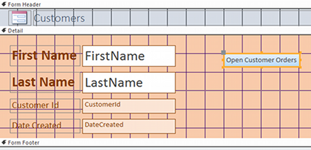 Screenshot of form in Design view with macro button.