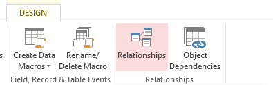 Screenshot of the Relationships button on the Ribbon in MS Access 2013.