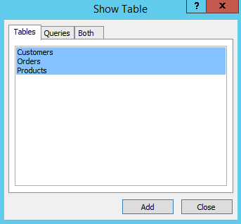 Screenshot of the Show Tables dialog while creating a relationship in Access 2013