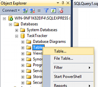 Screenshot of right-clicking on the Tables contextual menu in SQL Server 2014