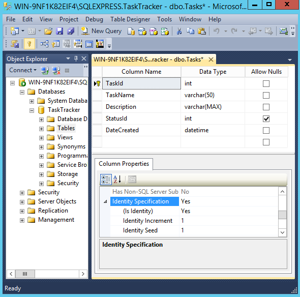 Screenshot Of Table In Design View In SQL Server 2014.
