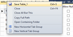 Screenshot of right-clicking on the table tab in SQL Server 2014.