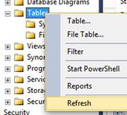Screenshot of refreshing the Object Explorer in SQL Server 2014.