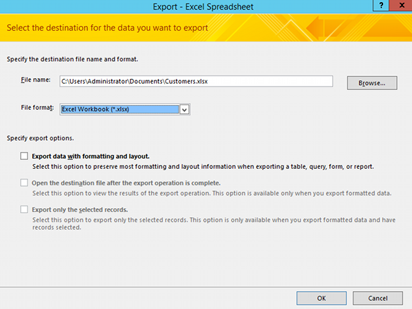 Screenshot of the Excel export dialog in Access 2013.