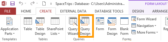 Screenshot of the Query Design button on the Ribbon in Access 2013