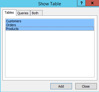 Screenshot of the Show Tables dialog in Microsoft Access 2013