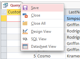 Screenshot of saving a query in Microsoft Access 2013