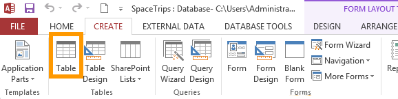 Screenshot of the CREATE tab of the Ribbon in Microsoft Access 2013