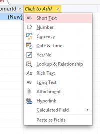 Screenshot of dropdown list of data types
