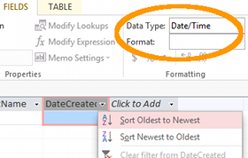 Screenshot of the Data Type option in the Ribbon in Access 2013