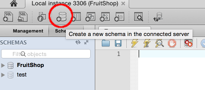 Screenshot of the Create Schema button on the MySQL Workbench toolbar
