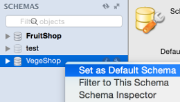 Screenshot of setting the default schema.