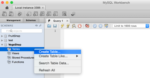 Screenshot of selecting Create Table from the left navigation pane