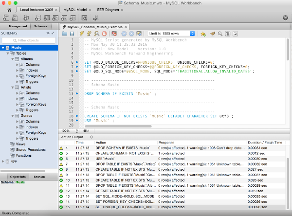 Screenshot of SQL script that creates a database in MySQL