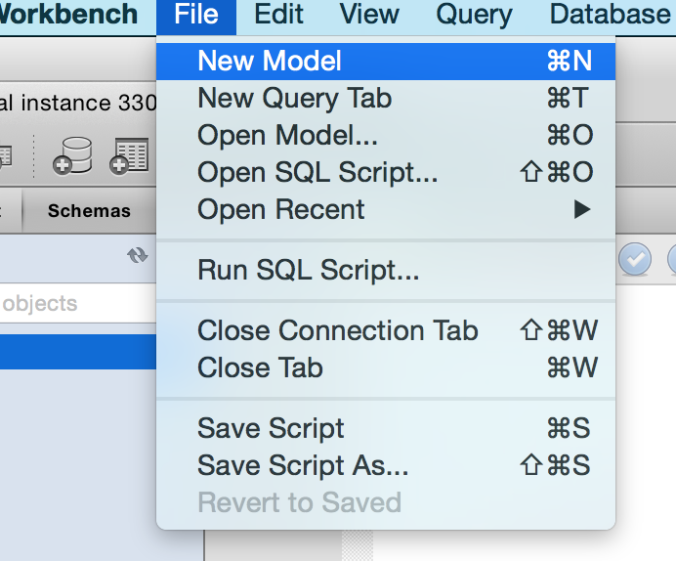 Screenshot of selecting New Model from the File menu in MySQL Workbench