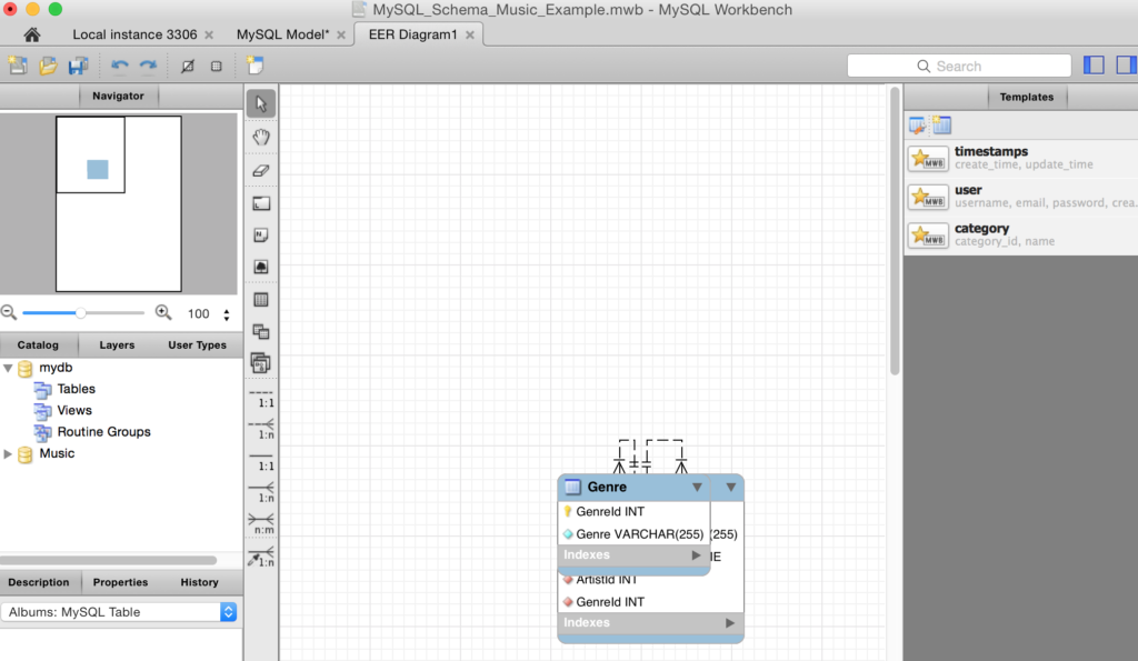 Screenshot of a newly generated diagram from a schema.