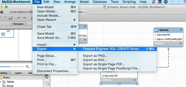Screenshot of the Export option for Forward Engineer SQL CREATE Script...