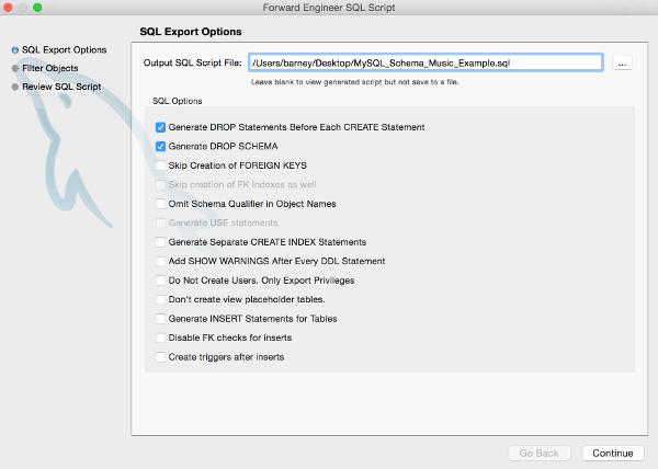 Screenshot of the SQL Export Options screen