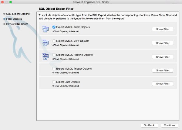 Screenshot of the SQL Object Export Filter dialog box