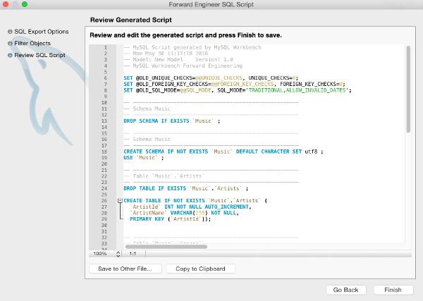 Screenshot of the Review Generated Script dialog box