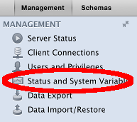 Screenshot of the Status and System Variables option in MySQL Workbench
