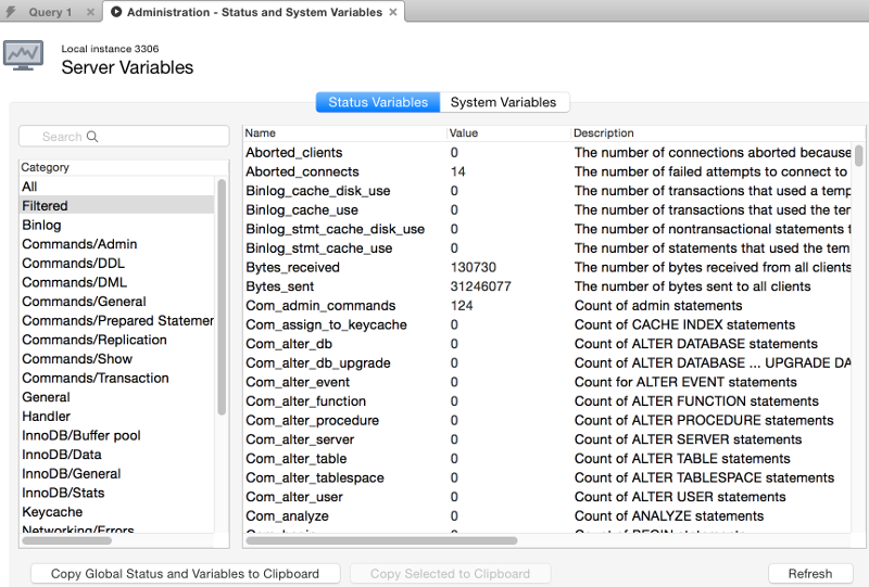 Screenshot of the Status and System Variables screen in MySQL Workbench