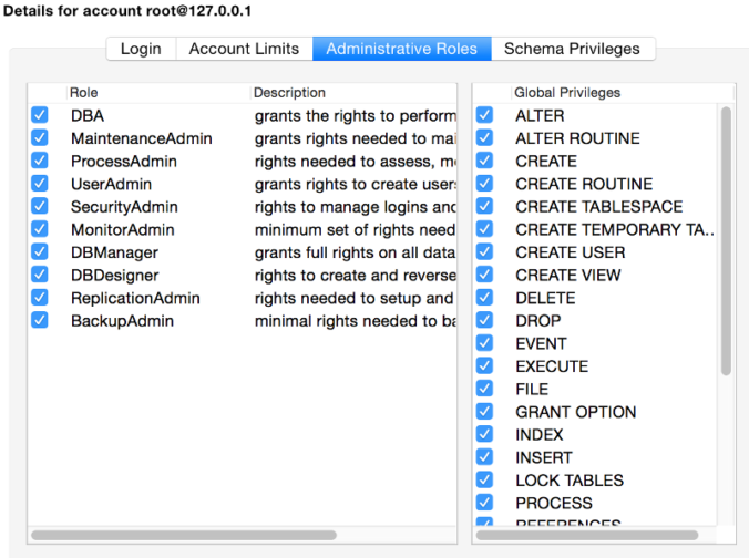 Screenshot of the Administrative Roles tab