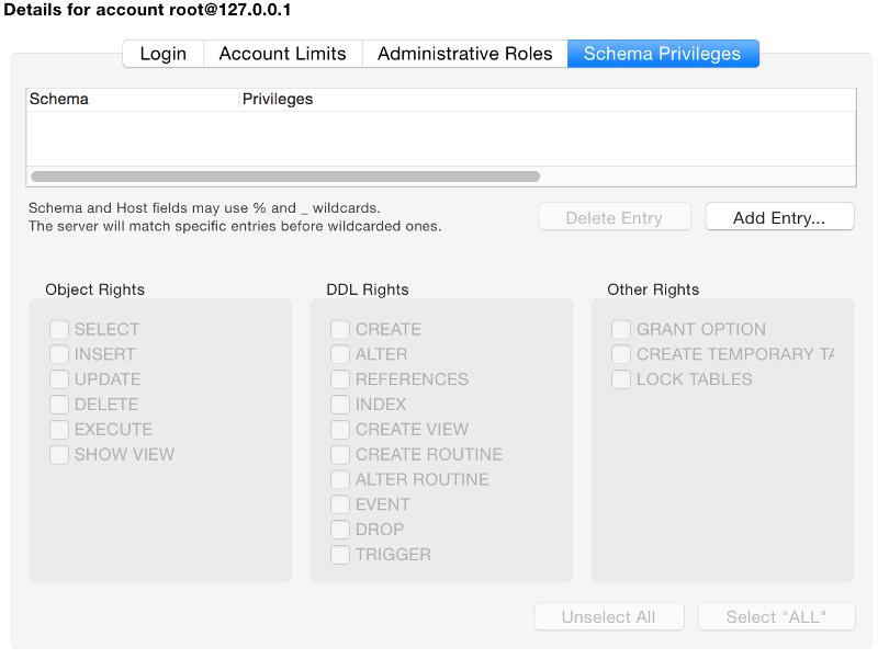 Screenshot of the Schema Privileges tab in MySQL Workbench