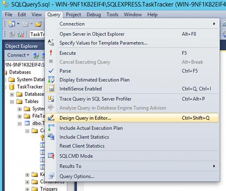 Screenshot of dropdown menu for Query Designer in SQL Server 2014.