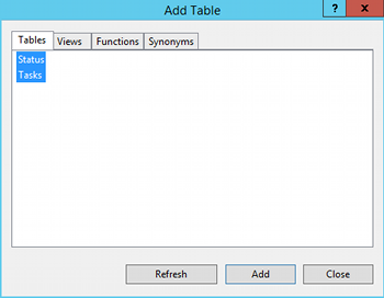 Screenshot of the Add Table dialog in SQL Server 2014