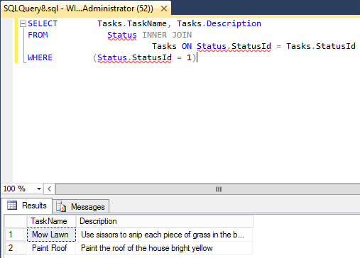 Screenshot of workspace with query in SQL Server 2014
