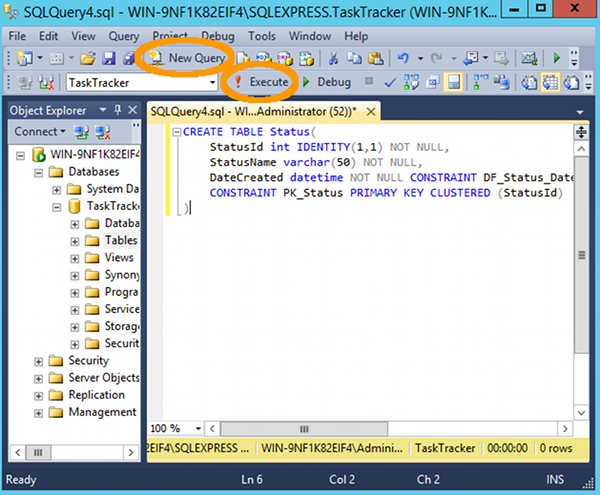 How to create a table in sql server using a query for Sql table design query