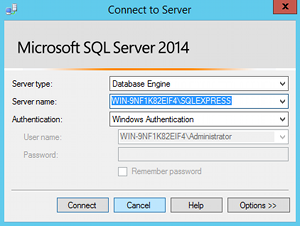 Screenshot of the Connect to Server prompt in SQL Server 2014