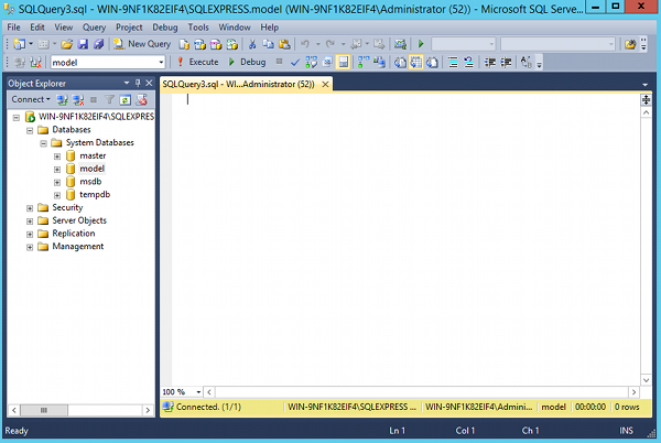 Screenshot of SQL Server Management Studio (SSMS) in SQL Server 2014.