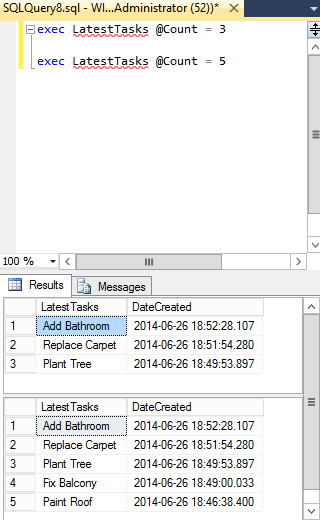 Screenshot of executing a stored procedure in SQL Server using different parameters.