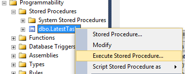 Screenshot of executing a stored procedure from the Object Explorer in SQL Server 2014.