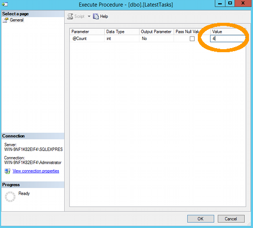 Screenshot of the Execute Procedure screen in SQL Server 2014.