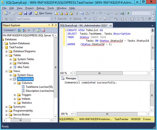 Screenshot of a SQL view script in SQL Server 2014