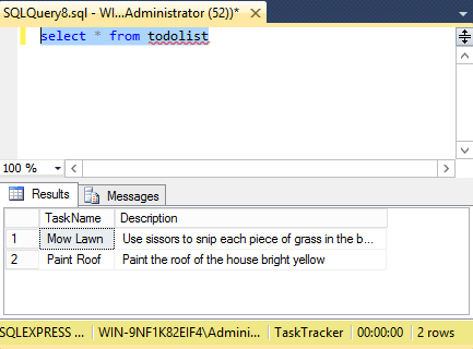 Screenshot of running a SQL view in SQL Server 2014