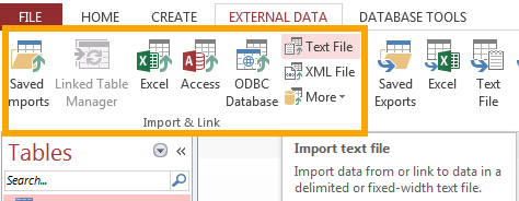 Screenshot of the data import buttons on the Ribbon in MS Access 2013.