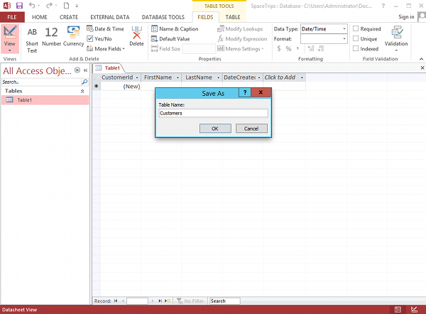 Screenshot of saving a table in Microsoft Access 2013