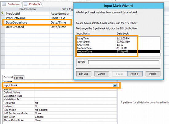 Screenshot of the Input Mask Wizard being used from within Design view.